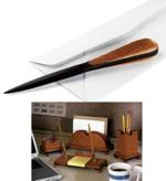 fee plans woodworking resource from WoodworkersWorkshop Online Store - desk set,letter opener,pencil holder,downloadable PDF,patterns,letter holder,paper clip holder,woodworking plans,woodworkers projects,blueprints,WOODmagazine,WOODStore