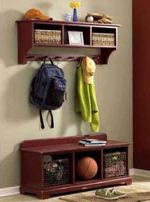 Storage Bench and Wall Shelf Woodworking Plan, dp-00509,benches,shelves,pegs,storage,hallway,entry,indoors,seating,fee woodworking plans,projects,patterns,blueprints,build,construction,how to,diy,do-it-yourself