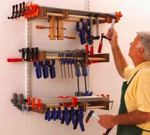 fee plans woodworking resource from WoodworkersWorkshop Online Store - clamp racks,workshops,downloadable PDF,patterns,storage,organize,wall mounted,woodworking plans,woodworkers projects,blueprints,WOODmagazine,WOODStore