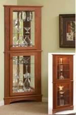 Corner Curio Cabinet Downloadable Woodworking Plan.