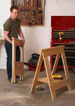 Fold Flat Sawhorses Downloadable Woodworking Plan PDF, sawhorses,saw horses,folding,downloadable PDF,patterns,storage,folds flat,woodworking plans,woodworkers projects,blueprints,WOODmagazine,WOODStore