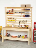 Workbench with Wall Storage Woodworking Plan