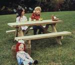 fee plans woodworking resource from WoodworkersWorkshop Online Store - small picnic tables,kids,childs,childrens,mini,pint sized,furniture,outdoors,fee woodworking plans,projects,patterns,blueprints,build,construction,how to,diy,do-it-yourself