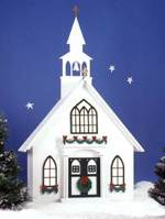 Americana Village Holiday Church Woodworking Plan.