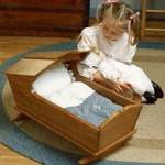 fee plans woodworking resource from WoodworkersWorkshop Online Store - doll cradle,doll furniture,rocking,childs,childrens,kids,girls,doll bed,fee woodworking plans,projects,patterns,blueprints,build,construction,how to,diy,do-it-yourself