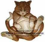 Sleeping Lazy Cat Intarsia Woodworking Pattern