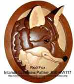 36-KW117 - Red Fox Head Intarsia Woodworking Pattern
