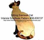 Sitting Siamese Cat Intarsia Woodworking Pattern