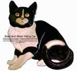 36-KW159 - Sitting Black and White Cat Intarsia Woodworking Pattern