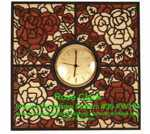Rose Clock Intarsia Woodworking Pattern