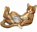 Lazy Cat Intarsia Woodworking Pattern