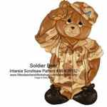 36-KW182 - Soldier Bear Intarsia Woodworking Pattern