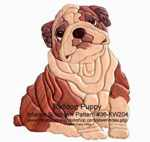 Bulldog Puppy Intarsia Woodworking Pattern