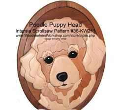 36-KW211 - Poodle Puppy Face Intarsia Woodworking Pattern