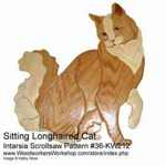 Sitting Longhaired Cat Intarsia Woodworking Pattern
