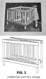A Collapsible Play Pen for Baby Vintage Woodworking Plan, cribs,baby furniture,babies,toddler,fold-down,collapsible,folddown,full sized patterns,vintage woodworking plans,old projects,recycled,woodworkers projects,blueprints,drawings,blueprints,how-to-build