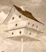 An 18 Room Martin Colony Birdhouse Vintage Woodworking Plan.
