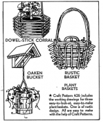 Plant Baskets Vintage Woodworking Plan, planter baskets,full sized patterns,vintage woodworking plans,old projects,recycled,woodworkers projects,blueprints,drawings,blueprints,how-to-build