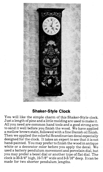 Shaker Style Clock Vintage Woodworking Plan