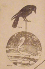 Pelican and Crow Garden Pokes Vintage Woodworking Plan.