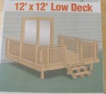 Low Deck 12 Ft x 12 Ft Vintage Woodworking Plan, decks,one level,stairs,railings,outdoors,patios,full sized patterns,vintage woodworking plans,old projects,recycled,woodworkers projects,blueprints,drawings,blueprints,how-to-build