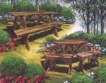 fee plans woodworking resource from WoodworkersWorkshop Online Store - picnic tables,standard size,six sided,portable benches,vintage woodworking plans,old projects,recycled,woodworkers projects,blueprints,drawings,blueprints,how-to-build