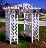 Trellis Arched with seating Vintage Woodworking Plan.