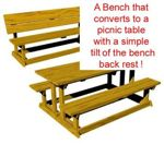 fee plans woodworking resource from WoodworkersWorkshop Online Store - convertible,flip-up,folding picnic benches,table,benchnic,full sized patterns,vintage woodworking plans,old projects,recycled,woodworkers projects,blueprints,drawings,blueprints,how-to-build