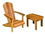 Adirondack Chair and Table Vintage Woodworking Plan.