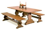 R14-2355 - Trestle Style Dining Table with Benches Vintage Woodworking Plan Set