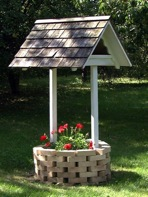 Wishing Well Planter using Bricks and Wood Vintage Plan