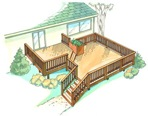 fee plans woodworking resource from WoodworkersWorkshop Online Store - building decks,patios,outdoor living spaces,bi-level deck,two levels,full sized patterns,vintage woodworking plans,old projects,recycled,woodworkers projects,blueprints,drawings,blueprints,how-to-buil
