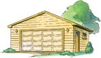 R14-5520 - 2 Car Garage with Gable Roof Construction Vintage Plan