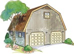 Gambrel Garage with loft Construction Vintage Plan