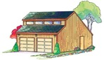 R14-5585 - 2 Car Garage with loft Construction Vintage Plan